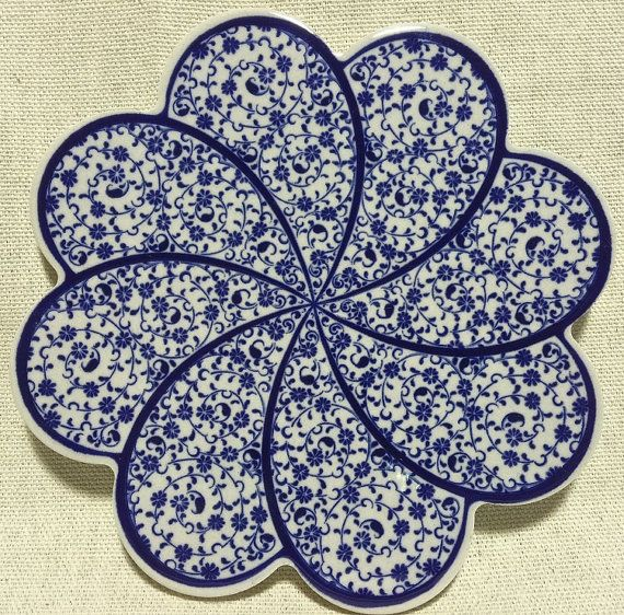 Trivet Turkish Ceramic Clay Scallop Trivet Plate by artfulproducts