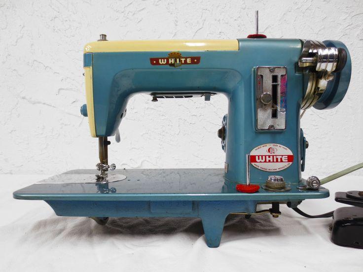 Vintage White 464 Sewing Machine, Turquoise 2 Tone, 110V Motor
