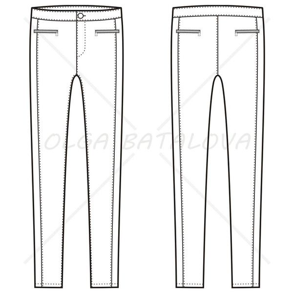 Front and back fashion vector sketch of women's skinny pants with horizontal zipper pockets on front and back
