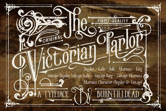 Victorian Parlor by Burntilldead on @creativemarket. Price $17 #seriffonts #vintagefonts