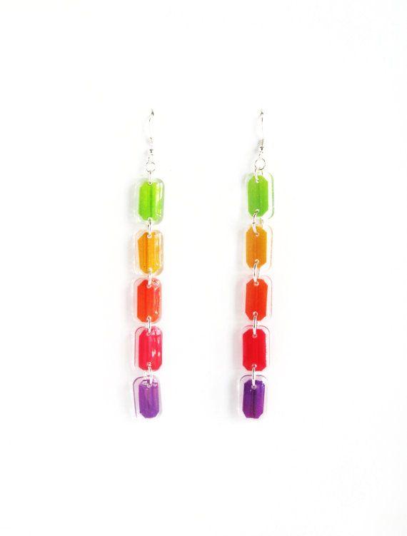 Rainbow Earrings, Long Drop Acrylic Resin Earrings, Light Weight Rainbow Earrings, Colorful Color Block Stick Earrings, Multi Color Earrings