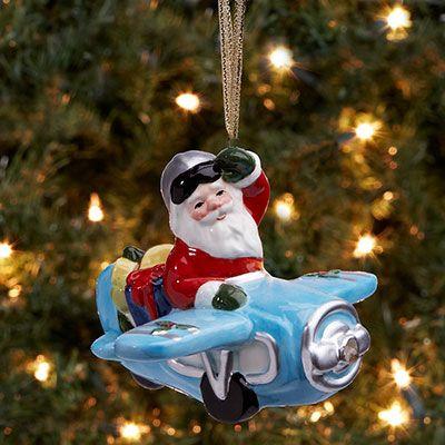 Aviator Santa with Airplane LED Ornament