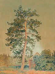 1121/546 - Johannes Larsen: Sommerlandskab, Sverige. Sign. monogram Båxhult 38. Akvarel og tusch på papir. Lysmål 64 x 50