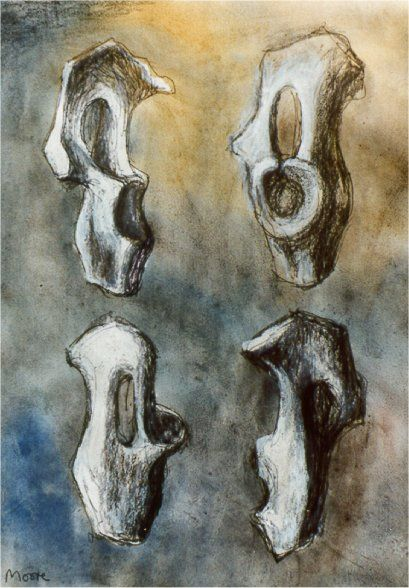 Henry Moore bone drawing