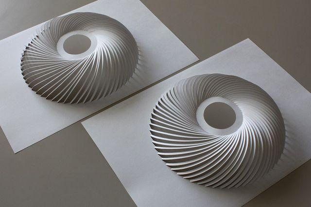 Professor Yoshinobu Miyamoto, Artist, Sixty Arcs Rotational Erection System, (no assembly, no interlocking), A4 size base, paper t=178μm 157g/m2