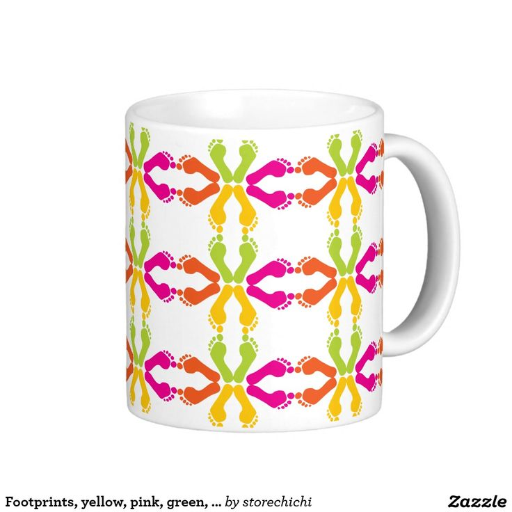 Footprints, yellow, pink, green, orange coffee mug