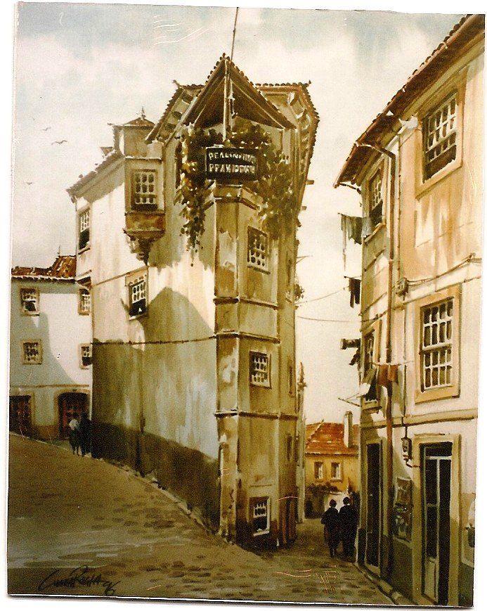 Cunha Rocha - Aguarela - República de estudantes na alta de Coimbra
