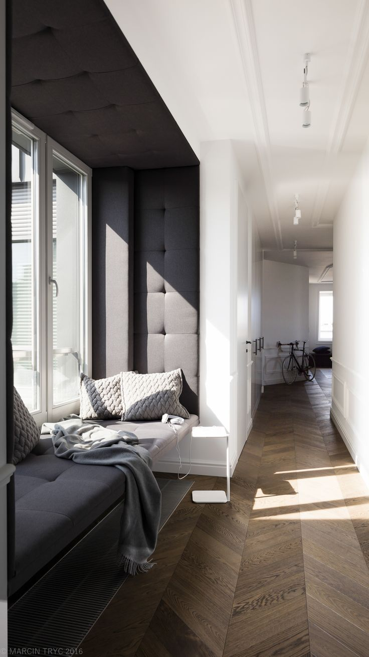 Black and white flat, classic interior, molding.