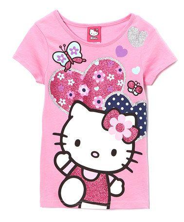 Look at this #zulilyfind! Pink Hello Kitty Glitter Hearts Tee - Girls #zulilyfinds