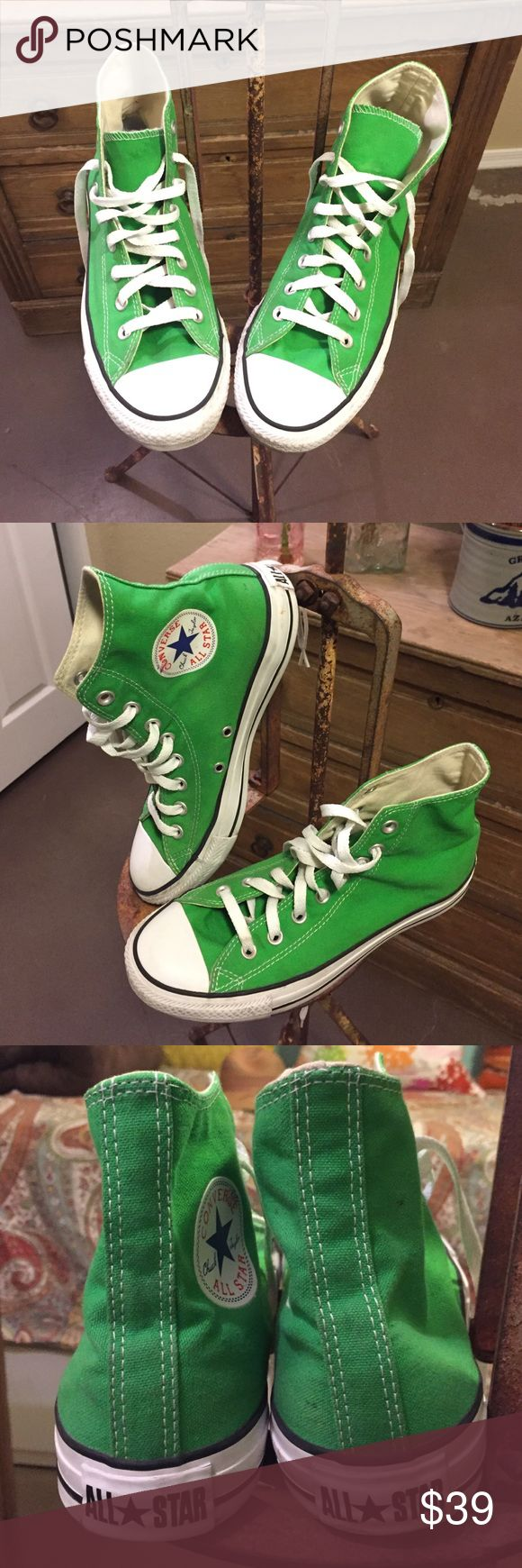 Green Converse High Tops Women's Size 9/Men's Size 7. These are in excellent condition only worn a handful of times. Converse Shoes Sneakers