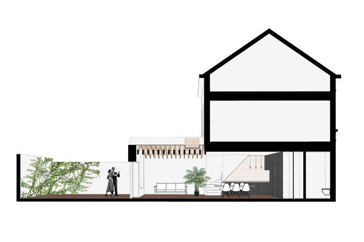 Verbouwing en uitbreiding van een rijwoning / extension and renovation of a small city house - uitbreiding met hellend dak - multiplex - zichtbare balken