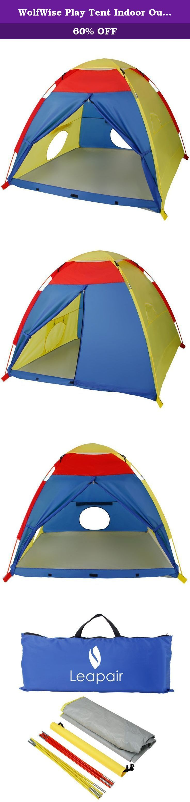 WolfWise Play Tent Indoor Outdoor Pop Up House. Description: 1.The Play Tent may sound like a toy, but it is constructed out of premium materials often found in high end professional camping tents. 2.Built for years of play time, the structural support of the tent comprises of two heavy duty shock-corded poles that's safe, light weight, and easy to setup. 3.Durable ventilating mesh, anti-tear polyester, and waterproof is carefully sewed together to make up the tent itself. 4.Large…