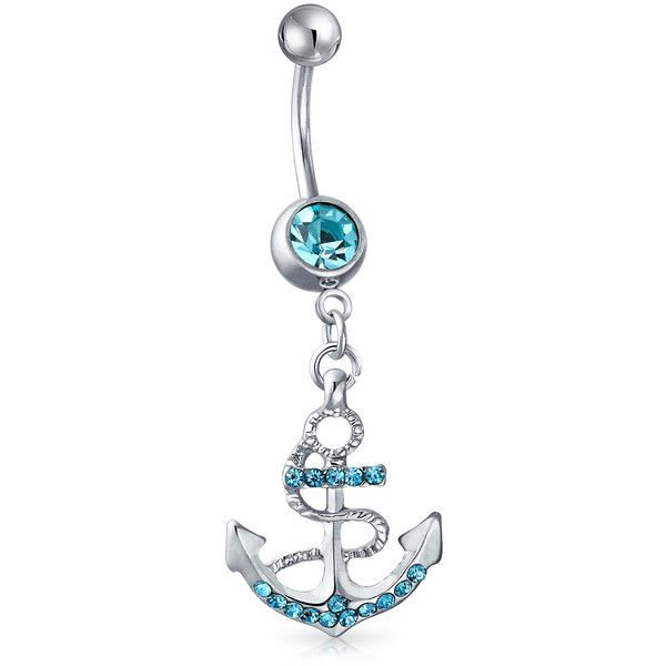Bling Jewelry Moor Than Words Body Jewelry ($9.99) ❤ liked on Polyvore featuring jewelry, blue, body jewelry, body-piercing-rings, nautical anchor jewelry, steel jewelry, imitation jewellery and fake jewelry