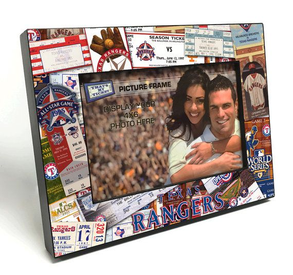 Texas Rangers Ticket Collage Wooden 4x6 inch Picture Frame - Officially Licensed by MLB