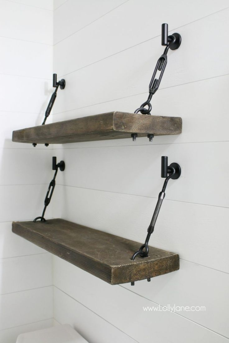 Diy Turnbuckle Shelf A Great Bathroom Addition Lolly Jane Diy Regal Möbel Zum Selbermachen Regal