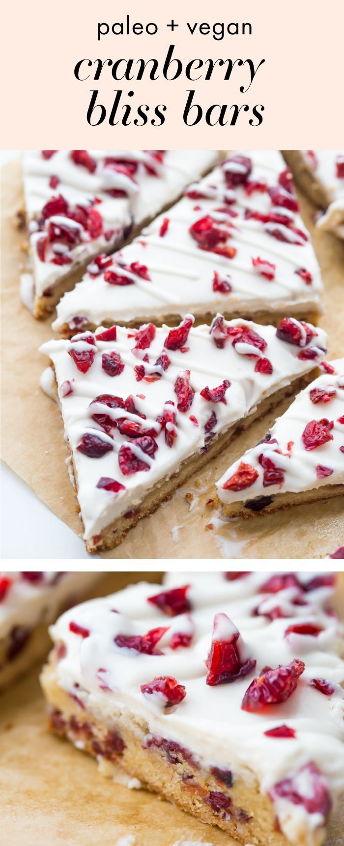 "These paleo cranberry bliss bars are just that: bliss! These vegan cranberry bliss bars are a grain-, gluten-, and dairy-free paleo Starbucks copycat recipe that's perfect for the holidays. Blondies, layered with ""cream cheese"" frosting, topped with dried cranberries, these paleo cranberry bliss bars are so delicious.#Teadaw#Teatime"