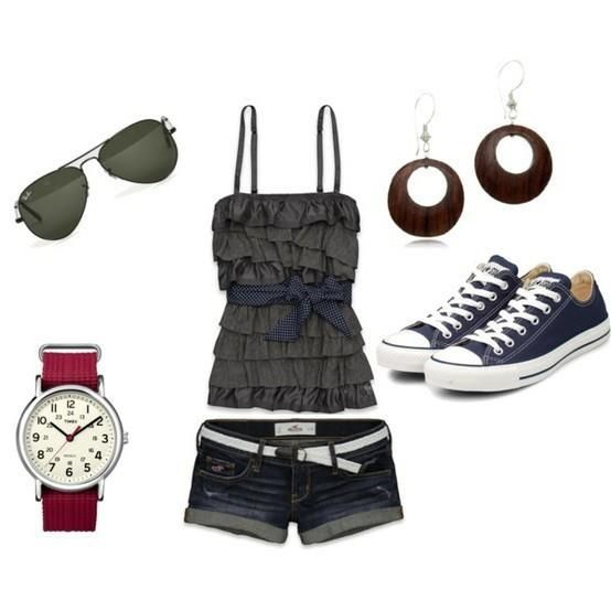 Summer outfit with blue converse shoes