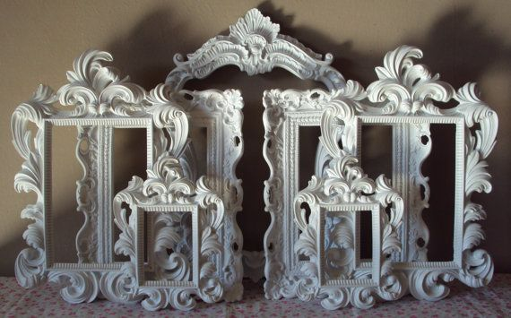 Always FAST Ship ~ Ornate Picture Frames ANY COLOR 7 Open Frames Wall Art Cottage White Wall Gallery Frames Victorian Home Decor