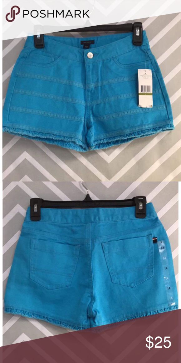 (Tommy Hilfiger) Girls Neon Aqua Shorts Denim shorts with crochet line accents. Tommy Hilfiger Bottoms Shorts