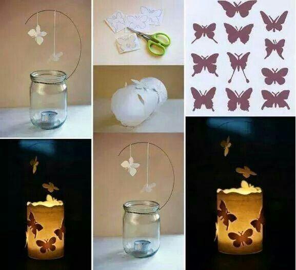 Portavelas con tarro cristal y mariposas papel