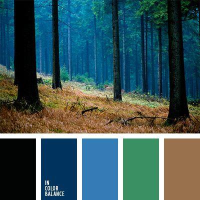 azul arándano, azul oscuro y verde, celeste y negro, color esmeralda, colores del anochecer, colores del bosque, marrón y verde, negro, negro y verde, paleta de colores de otoño, paleta de colores para otoño, tonos marrones, verde.