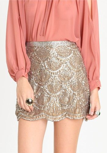 Sequin skirt hotness!: Holidays Parties, Gold Skirt, Outfits, Fashion, Scallops Skirts, Style, Sequins Skirts, Clothing, Sparkly Skirts