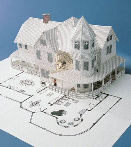 """""""Paper Victorian House With Architect's Plan"""""""