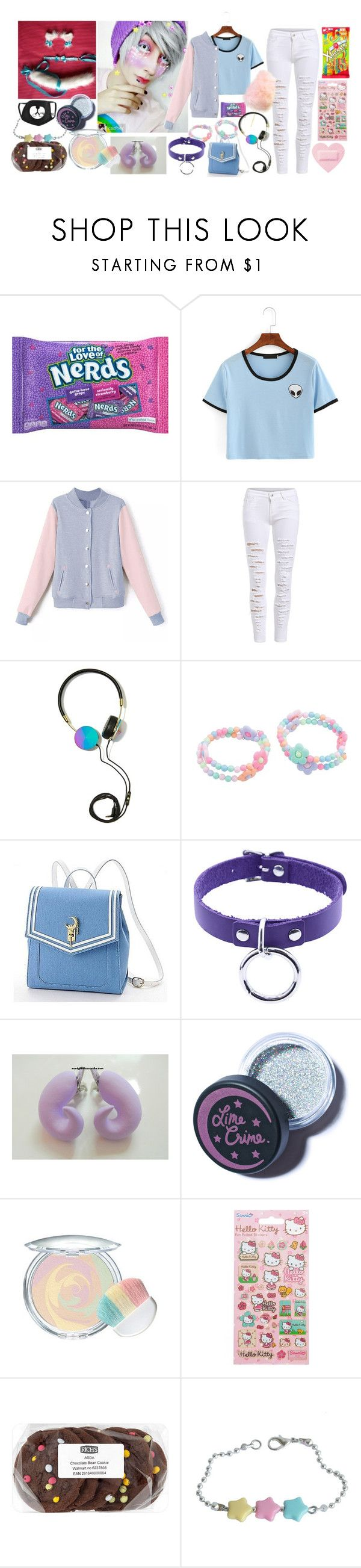 """Cotton (Team Sugar Rush)"" by ariagrimesqoutev ❤ liked on Polyvore featuring beauty, Frends, Usagi, Lime Crime and Hello Kitty"