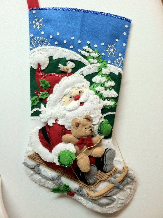 "18"" Completed Hand Sewn Bucilla Christmas Stocking Santa's Sled"