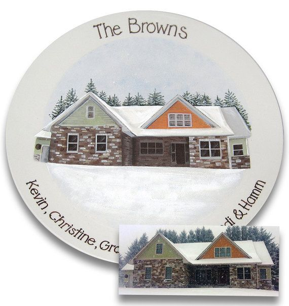 Home Sweet Home Custom House Portrait Plate by SerendipityCrafts