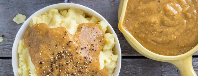 This vegan gravy recipe gets its creamy, savory goodness from fresh mushrooms, dried spices, and—surprise!—cooked brown rice.