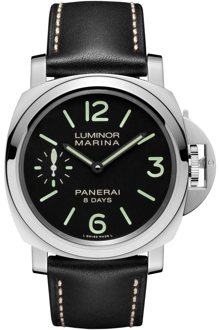 Movement:Hand-wound mechanical, P.5000 calibre, executed entirely by Panerai, 15 ½ lignes, 4.5 mm thick, 21 jewels, Glucydur® balance, 21,600 alternations/hour. KIF Parechoc® anti-shock device. Power reserve 8 days, two barrels. 127 components.