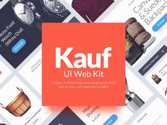 Kauf: Free web UI kit for Photoshop