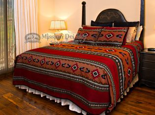 The Zuni Premium quality southwestern tapestry bedspread is a perfect example of southwest style as well as western and cabin decor.