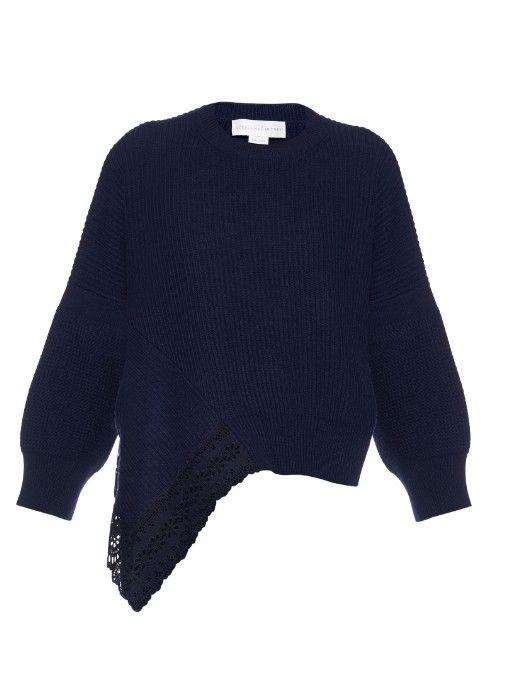 Стелла Маккартни кружева вставки шерсти, шелка и кашемира смесь свитер