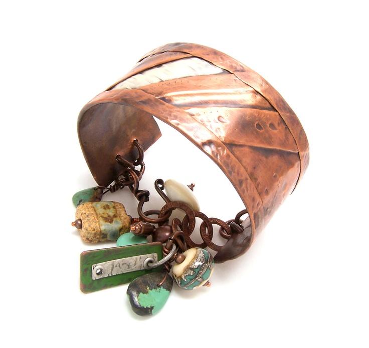Charm Bracelet, Mixed Metal Jewelry, Copper Charm Bracelet ...