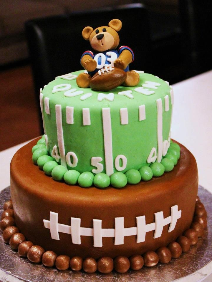 Football baby shower cake