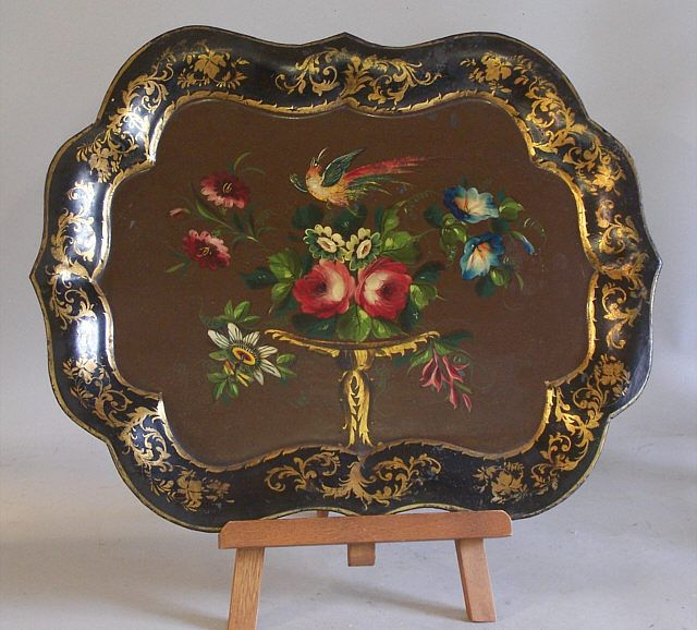 victorian tole trays | Victorian painted tole tin serving tray with birds c1865