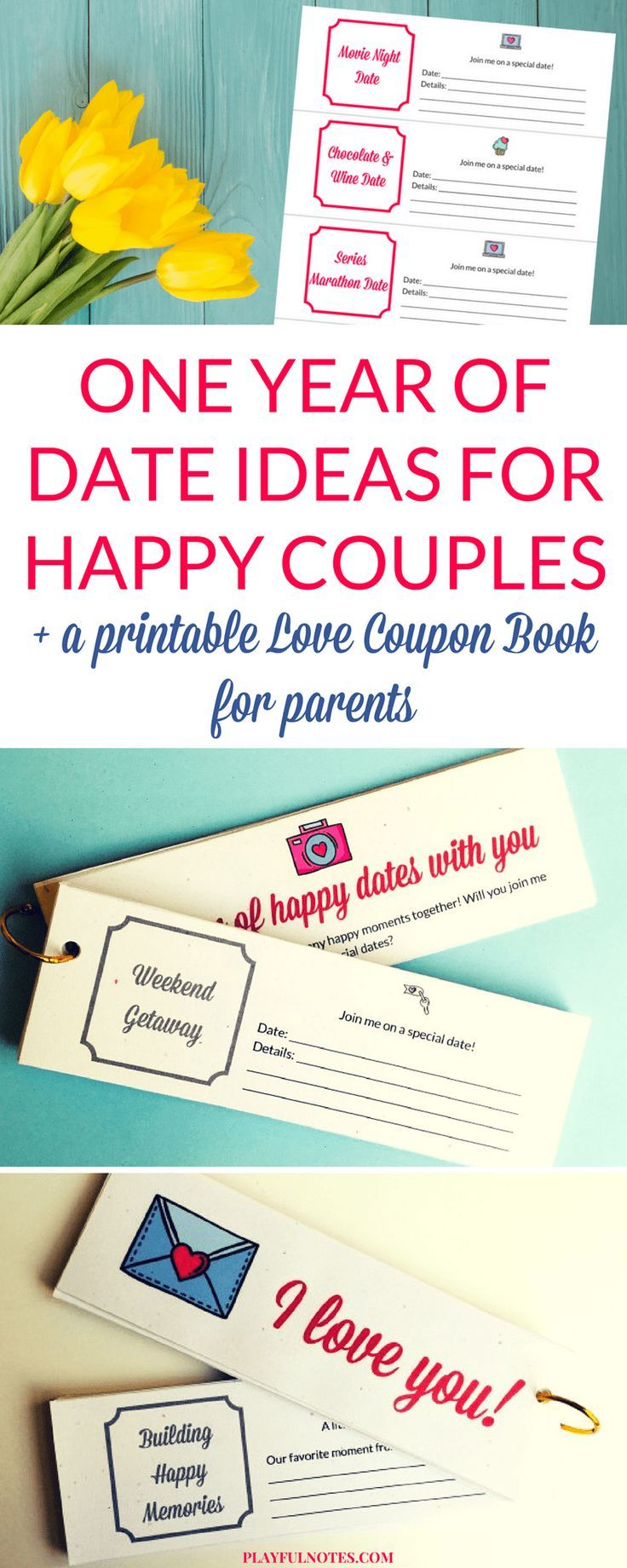 A love coupon book for parents is a wonderful way to plan quality couple time and make a commitment to focus on the relationship even in the busiest times. You can download here the date cards and create your own love coupon book! | Printable DIY love coupon book | Love coupon book for dads | Date ideas for parents