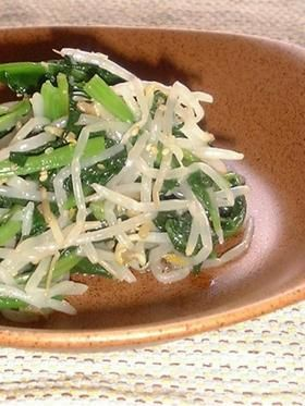 bean sprout & spinach namul もやしとほうれん草のナムル (bean sprout, spinach, stock)