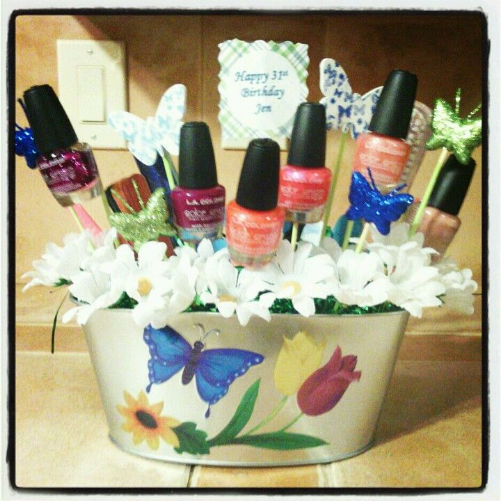 Nail Polish Gift Basket Front Do It Yourself Or At Least Try Pinterest Gifts Baskets And Diy