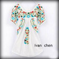 Винтаж 70 S гребешок топ хиппи мексиканская BOHO этническая цветочные вышитые платье-блузка новый 2014 бесплатная доставка женская одежда XS L