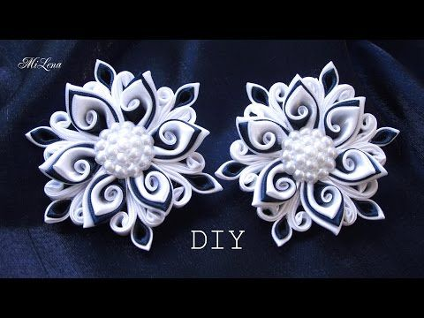 Резинки канзаши, МК / DIY Scrunchy with Kanzashi flowers - YouTube