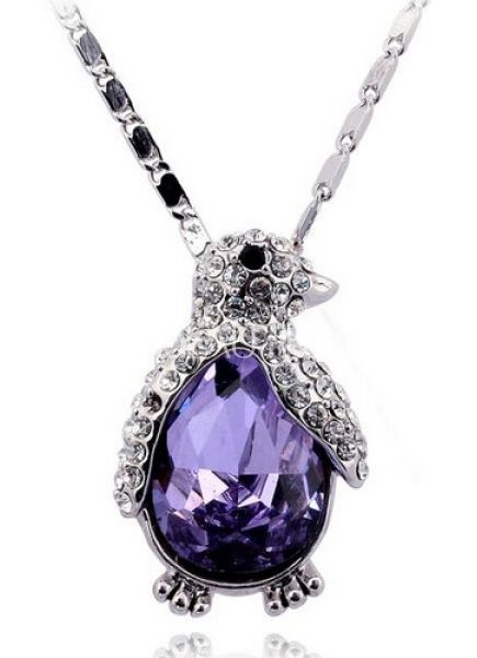Cute Necklace With Purple Austria Crystal Penguin Pendant $36.49. Kinda expensive but GORGEOUS!!!!!!!!!!!!!!!!