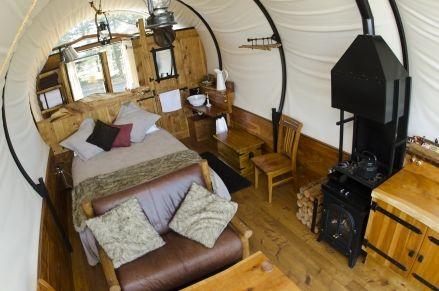 Inside the amazing wagon accommodation at WagonStays Luxury Escape, Canterbury.  http://www.aatravel.co.nz/main/listing.php?listingId=251786
