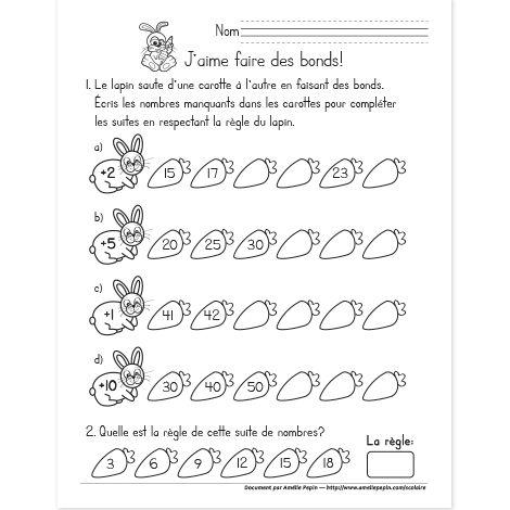 Fichier PDF téléchargeable En noir et blanc seulement 1 page Les élèves complètent les suites de nombres en respectant la règle donnée par le lapin. Ils doivent également trouver la règle d'une suite donnée.