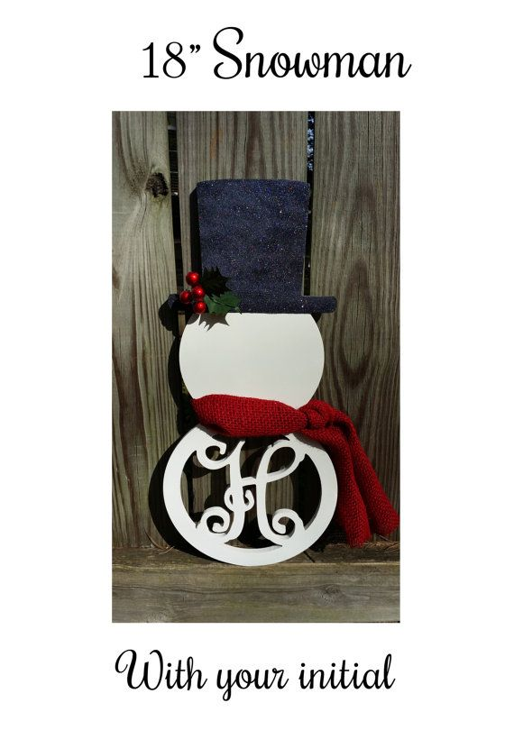 Adorable snowman monogram, snowman wreath with initial, winter wreath alternative, Christmas snowman wreath, Snowman door hanger with initial