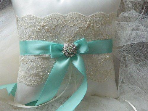 Wedding Ring Bearer Pillow tiffany And Ivory Satin And Lace Ringbearer | GartersByMarasa - Wedding on ArtFire