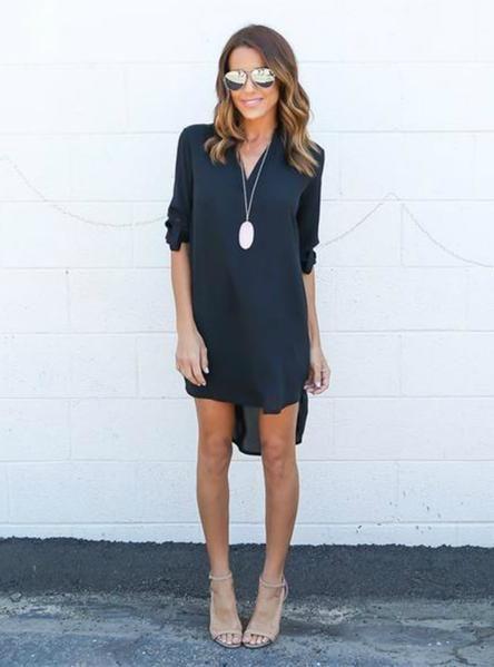 773620bd90262 Plus Size Elegant Dress Long Sleeve Irregular Chiffon Dress in 2019 ...