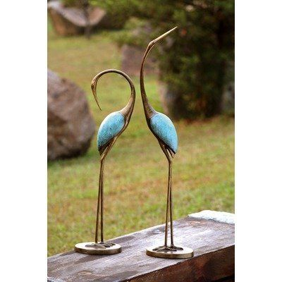 """SPI Stylized Garden Crane Pair Sculpture by SPI. $116.99. 36"""" and 29.5"""" Tall. Aluminum. Set of Two. Stunning Pair. Weathered Bronze and Marbled Verdi Finish. 33336 Construction: -Constructed from aluminum."""